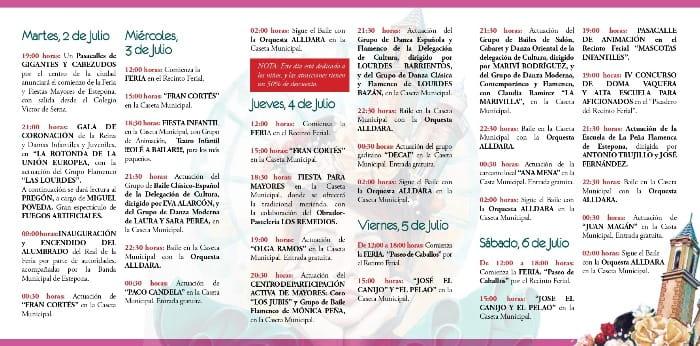 Programa de la feria de Estepona 2019 2