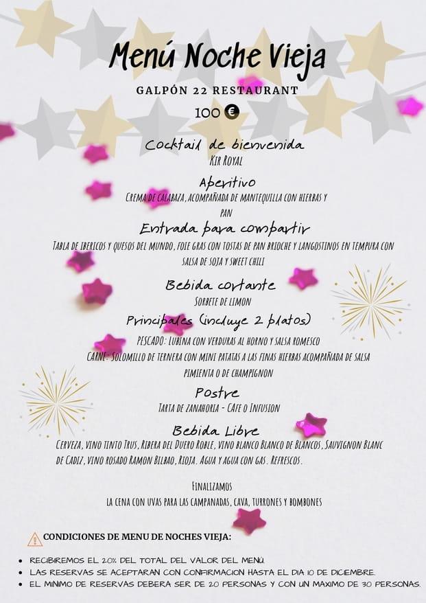 Menu cena de navidad Galpón 22 Estepona 2019 2
