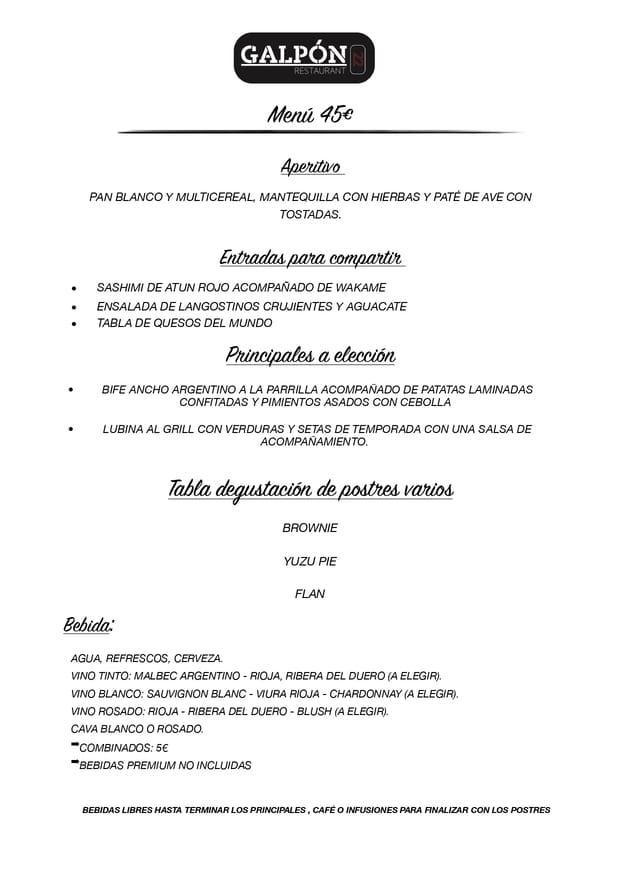 Menu cena de navidad Galpón 22 Estepona 2019 4