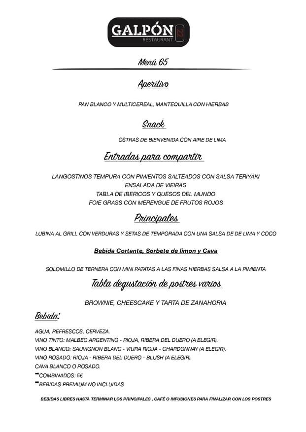 Menu cena de navidad Galpón 22 Estepona 2019 6